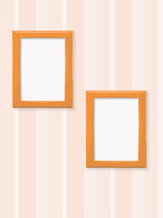 Two blank frames on stripe background
