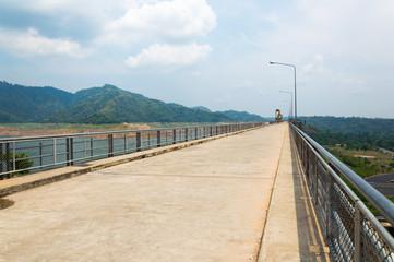 River and mountain backside of Khundanprakanchon dam, Nakhon Nay