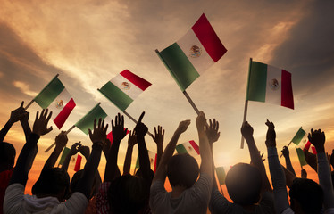 Group of People Holding National Flags of Mexico