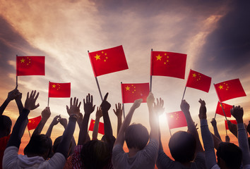 Group of People Holding National Flags of China