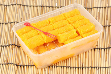 Delicious thai dessert in Plastic box