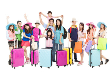 Group of happy people are ready to travel together