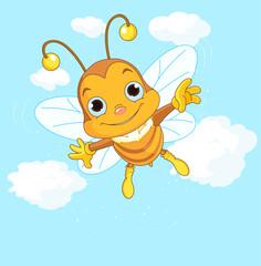 Cute Bee flying in the sky