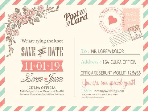 Vintage postcard background for wedding invitation