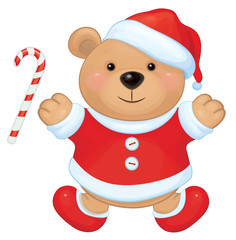 Vector cute brown bear in red Santa's costume isolated.