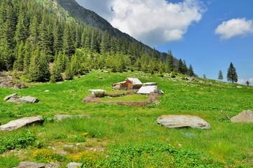 Wooden Sheepfold In Carpathian Mountains