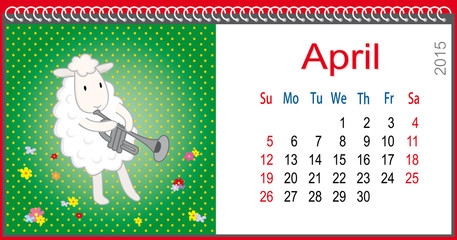Calendar for April and lamb plays the trumpet