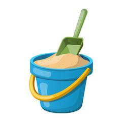 Sand Bucket and shovel. Vector illustration