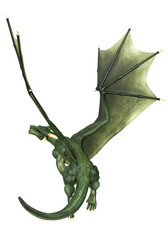 Wall Murals Dragons green dragon just flying back view