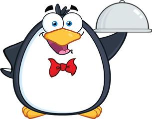 Waiter Penguin Serving Food On A Platter