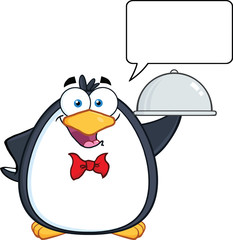 Waiter Penguin Serving Food On A Platter With With Speech Bubble
