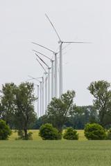 Windräder nutzlos in Reihe aufgestellt
