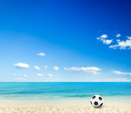 beach background with football