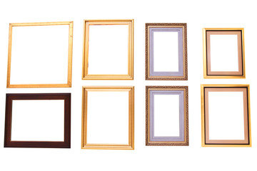 Isolated blank painting frames on white background