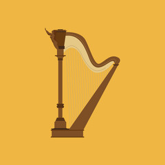 Abstract Colorful Harp Isolated On Color Background