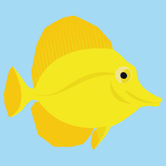 Yellow Fish Isolated On Blue Background