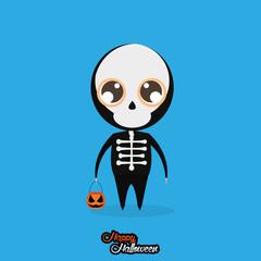 Boy With Skull Halloween Costume Isolated