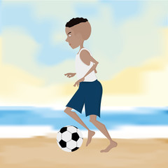 Soccer Player Cartoon Illustration Editable With Background