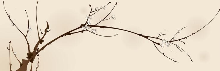 Plum blossom with line design