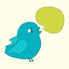 cartoon funny  bird with voice bubble  vector illustration