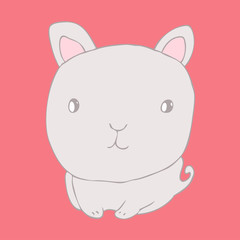 cute little rabbit (bunny) vector illustration, hand drawn