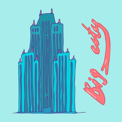 big city, skyscrapers cartoon vector illustration, hand drawn