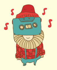 Hipster character  cassette-tape vector illustration