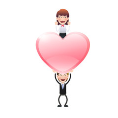 Business people with heart over white. Vector design.