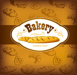 bakery bread. seamless background pattern. labels pack bread