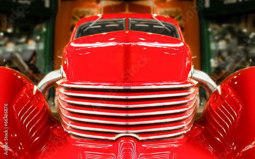 Wall mural abstract of a vintage red muscle car