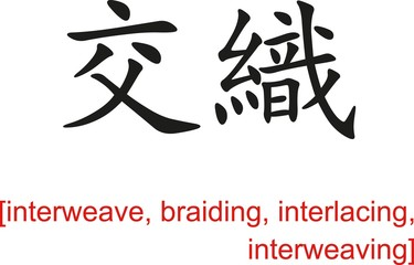 Chinese Sign for interweave, braiding, interlacing,interweaving