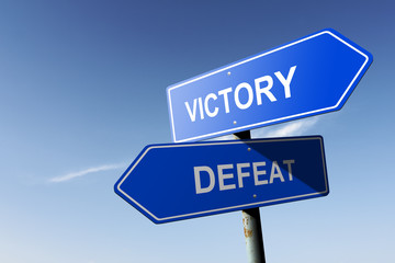 Victory and Defeat directions.  Opposite traffic sign.