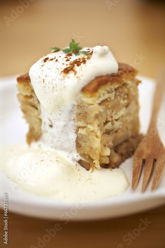 Close Up Carrot Cake And Cream In Japanese Coffee Shop Stock Photo