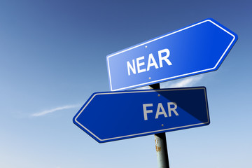 Near and Far directions.  Opposite traffic sign. Wall mural