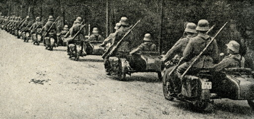 German troops on motorcycles with sidecars ca. 1930