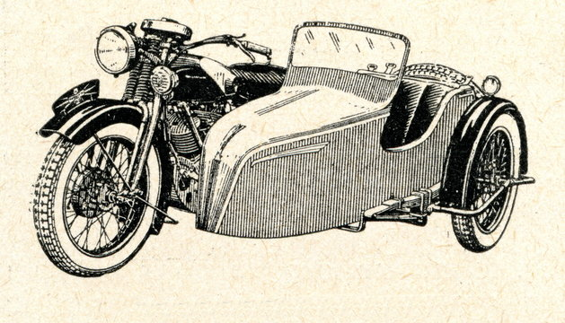 Motorcycle with a sidecar ca. 1930