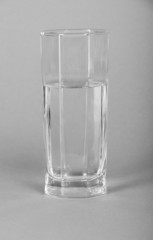 Glass with clear transparent water