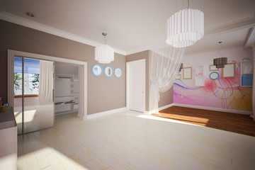 Interior room empty in modern style
