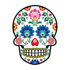 Mexican sugar skull - Polish folk art style - Wzory Lowickie