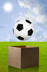 Football in open box with field background