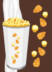 Corn flakes and popcorn in a paper cup on the dark background