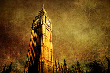Wall Mural - antik texturiertes Bild des Big Ben in London