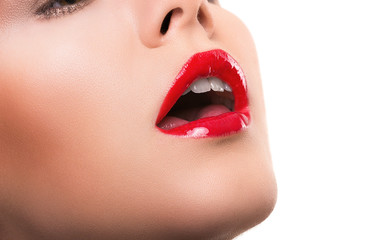 Woman with red wet lips