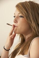 Teenage girl smoking