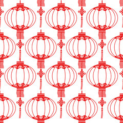 Chinese lanterns seamless pattern background,vector illustration