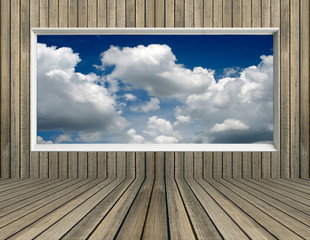 blue sky and clound in picture frame old wood wall