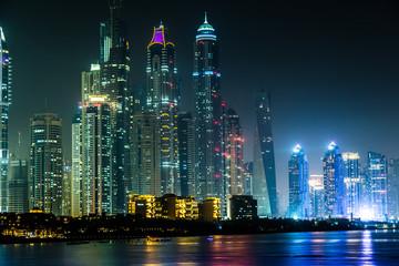 Poster Violet Dubai Marina cityscape, UAE