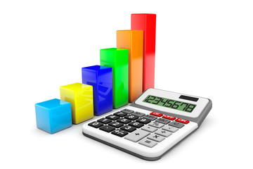 Business Concept. Calculator and colorful chart