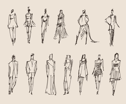 Fashion models, sketch, vector illustration, hand drawing
