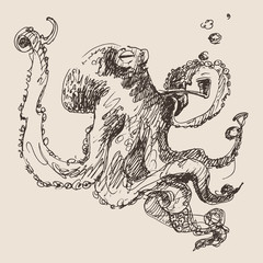 Octopus vintage illustration, engraved retro style, hand drawn